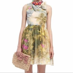 RED Valentino HandPainted Floral Cotton Silk Dress